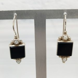 {Artisan} Silver .925 Onyx JLD Hook Earrings